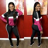 Rose Red Color Block Long Sleeves T Shirts Sports Pants Outfits MTY6216