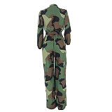 Camouflage Army Green Loose Leissure Jumpsuits YT3181