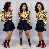 Leopard Print High Neck Blouse Black Mini Skirts Sets MTY6226