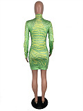 Green See Through High Neck Bodycon Mini Dress ML7252