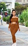 Brown Pure Color Sets Off Should Crop Top High Waist Tight Pants YMT6104