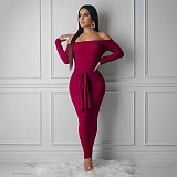 Burgundy Off Slash Neck Knitting Bodycon Dress With Belt YMT6102