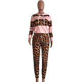 Pink Thick Patchwork Hoodie Sweaters Skinny Leopard Print Pants Sets YX9158