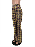 Pink Women Casual Plaid High Waist Flare Pants ML7242
