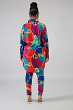 Multicolor Printing Female Outfits Cardigan Shirt Pencil Pants YZ1940