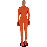 Orange Casual Ruffle Female V Collar Slim Fitting Long Jumpsuit HY5101