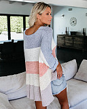 Cheap Price Patchwork Kniting Long Sleeves Sweaters QZ8006