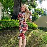 Red Stripped Print Long Sleeves Bodycon Midi Dress LY5102