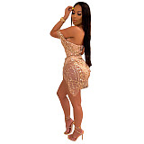 Gold Fashion Sequin Female Sexy Strappy Jumpsuit QZ4079