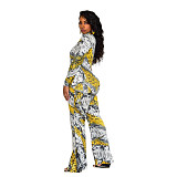 Women Striped Print Long Sleeves Wide Leg Jumpsuits SN3684