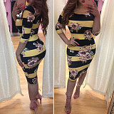 Flower Print Striped Bodycon Midi Fashion Dress LMM8089