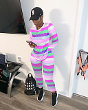 Pink Female Autumn Outdoor 2 Pieces Multicolor Tracksuits ARM8131