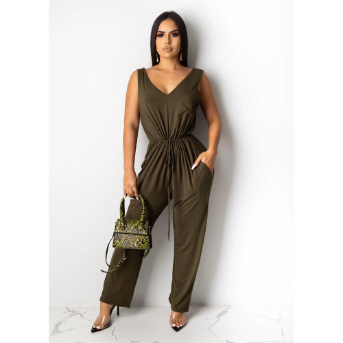 Dark Green Wholesale Women Solid Casual Tank Jumpsuits CY1203