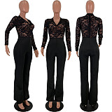 New Design High Waist Perspective Lace Splicing Black Jumpsuit DN8326