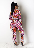 Colorful Stylish Long Sleeved Slim Fitting Printing Female Jumpsuit E8466