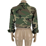 New Style Denim Turn Down Collar Camouflage Jacket DN8330