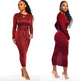 Wine Red Solid Color Round Neck Bowknot Belt Long Dress LML065
