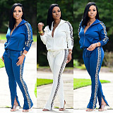 Blue slash neck leopard print zipper top & zipper pant set X9212