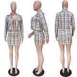 カーキクラシックフィットチェック柄ブラ&二層ジャケット&ショートスカート