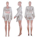 Silver Sequins Hot Sets Long Sleeved Crop Top Slim Fitting Belted Shorts Q380