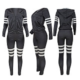 Black Stylish 3 Colors Female Stripe Splicing Hooded Tracksuits ED8151