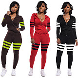 Red Stylish 3 Colors Female Stripe Splicing Hooded Tracksuits ED8151