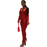Red neon bodycon v neck zipper jumpsuits M997