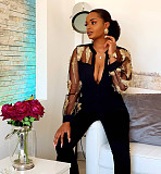 Black Elegant Mesh See Through Feather Embroidery Women Jumpsuit LA3161