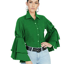 Green Latest Bodycon Ruffle Sleeved Solid Color Button Down Top SMR9455
