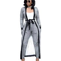 Gray Printed Female Sets Long Sleeves Jackets+Bodycon Leggings QQM3535