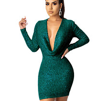 Green Explosion Models Long Sleeved Solid Sequin Bodycon Dress JLX8921