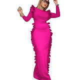 Rose Red New Arrival Slim Round Collar Split Ruffle Maxi Dress QQM3855