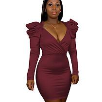 Красное вино с V-образным вырезом и V-образным вырезом Bodycon Pure Color Oversize Платье H1243