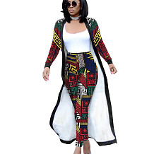 Red Printed Female Sets Long Sleeves Jackets+Bodycon Leggings QQM3535