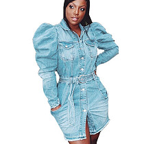 Зимнее повседневное джинсовое платье с пузырьковым рукавом для оптовой продажи LA3154