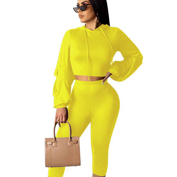 Yellow Online Sale Plain Color Autumn Leisure Bodycon Sets QQM3887