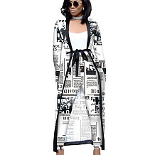Newspaper Printed Female Sets Long Sleeves Jackets+Bodycon Leggings QQM3535