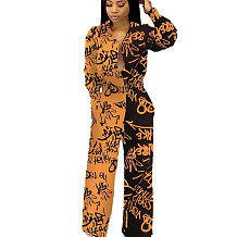 Orange New Design Printing Cardigan High Waist Straight Jumpsuit MN8069