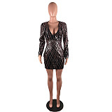 Latest Glitter Sequins Bodycon Sexy V Collar Backless Mini Dress JLX8925