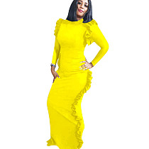 Yellow New Arrival Slim Round Collar Split Ruffle Maxi Dress QQM3855