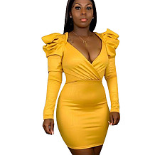 Yellow Pu Leather V Collar Bodycon Pure Color Oversize Wrap Dress H1243