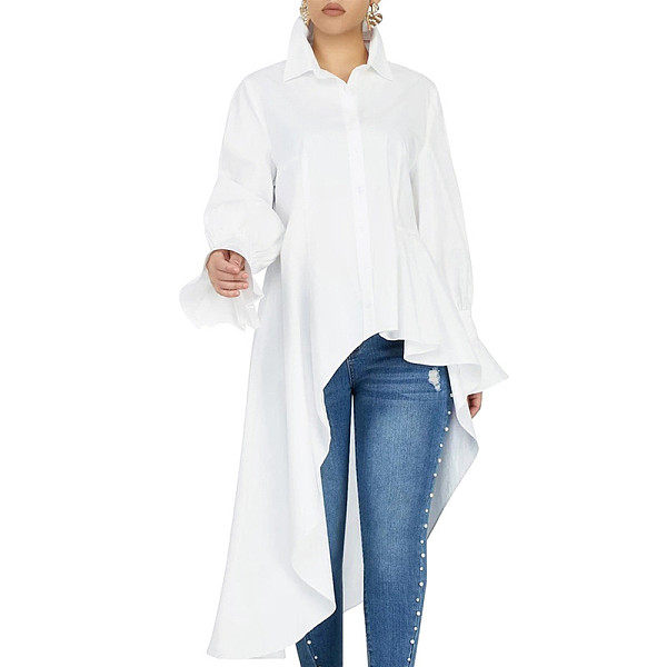 White Casual Flares Sleeve Long Top Button Down Irregular Dress SMR9475