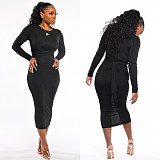 Black Newest Bandage Solid Color Round Collar Pencil Dress LML065