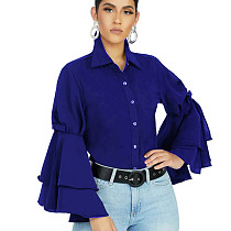 Blue Latest Bodycon Ruffle Sleeved Solid Color Button Down Top SMR9455