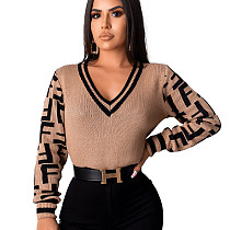 Camel Women's Sweater Slim Fitting V Neck Pullover Letters Top ZS060