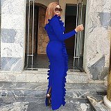 Blue New Arrival Slim Round Collar Split Ruffle Maxi Dress QQM3855