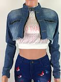 Denim Ladies Clothes Fashion Cardigan Ripped Short Coat LA3158