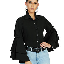 Black Latest Bodycon Ruffle Sleeved Solid Color Button Down Top SMR9455
