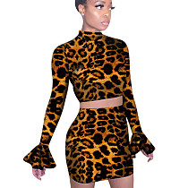 Flare Sleeves Top Short Skirt Leopard Printed Bodycon Club Suits QQM3875