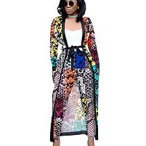 Snake Pattern Female Printed Sets Long Sleeves Jackets+Bodycon Leggings QQM3535